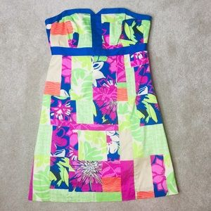 Lilly Pulitzer Thatch Patch Dress Strapless Mini